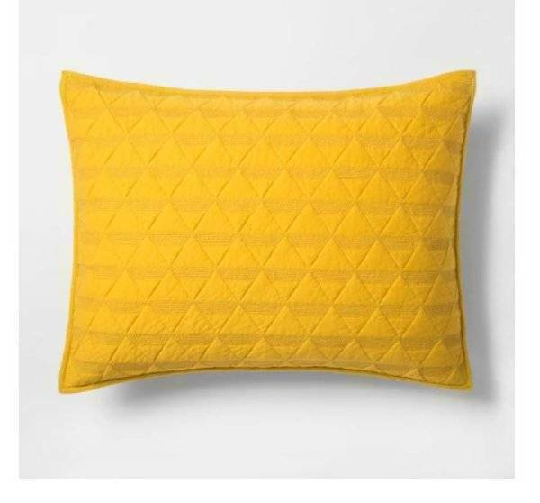 Project 62 Nate Berkus Triangle Stitched Jersey Standard Pillow Sham Yellow For Sale Online Ebay