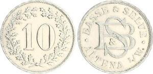 Kaiserreich-aeusserst-seltene-10-Pf-Probe-zu-J-4-in-Nickel-fast-Stempelglanz