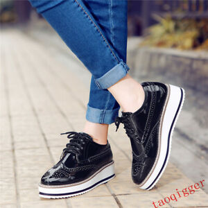 New-Women-Brogues-Oxfords-Platform-Creeper-Lace-Up-Vintage-carving-Wingtip-Shoes