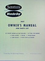 Simplicity Wonder-boy 1957 Riding Tractor & Engine Owner & Parts (2 Manuals) 30p