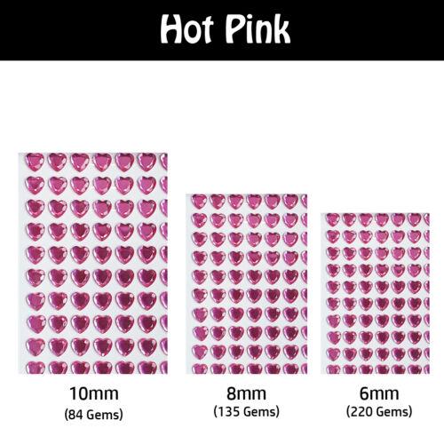 Heart Shape Decorative Diamante Crystal Sticky Rhinestone Gems 3 Sizes 20 Colour