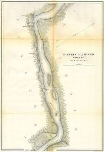 1865 Coastal Map Nautical Chart Mississippi River above Cairo Illinois