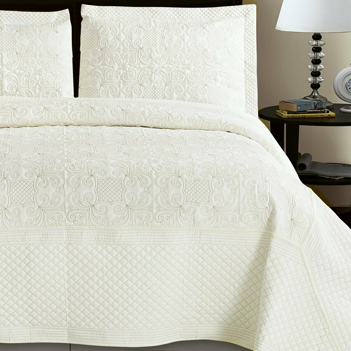 New Luxury Cream   Gold Embroiderot Quilted Bedspread Throw Elegant