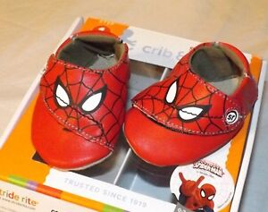 New Boys Stride Rite Spiderman Crib Amp Crawl Shoes Size 0 3