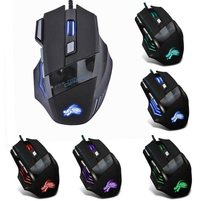 5500DPI LED Optical USB Wired Gaming Mouse 7 Buttons Gamer Laptop Computer NI5L