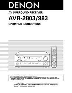 denon avr 2803 av receiver owners manual ebay rh ebay com Review Denon AVR 2803 Denon AVR 2500