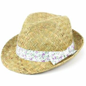 Trilby Hat Straw Fedora Cap Ladies Unisex Brim Travel Hawkins FLORAL ... f7d468ab4829