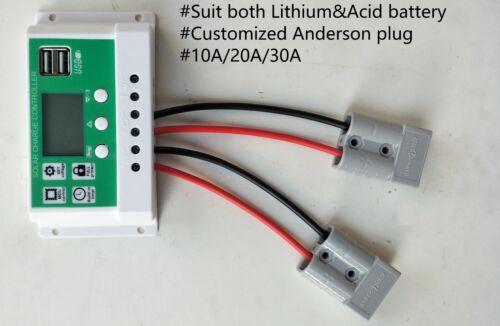 10//20//30A 12-24V Solar controller+Anderson plug.Suit lithium /& Lead acid battery