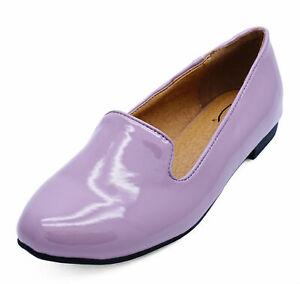 LADIES-FLAT-PURPLE-PATENT-SLIP-ON-SHOES-SMART-CASUAL-LOAFERS-BALLET-PUMPS-UK-3-8