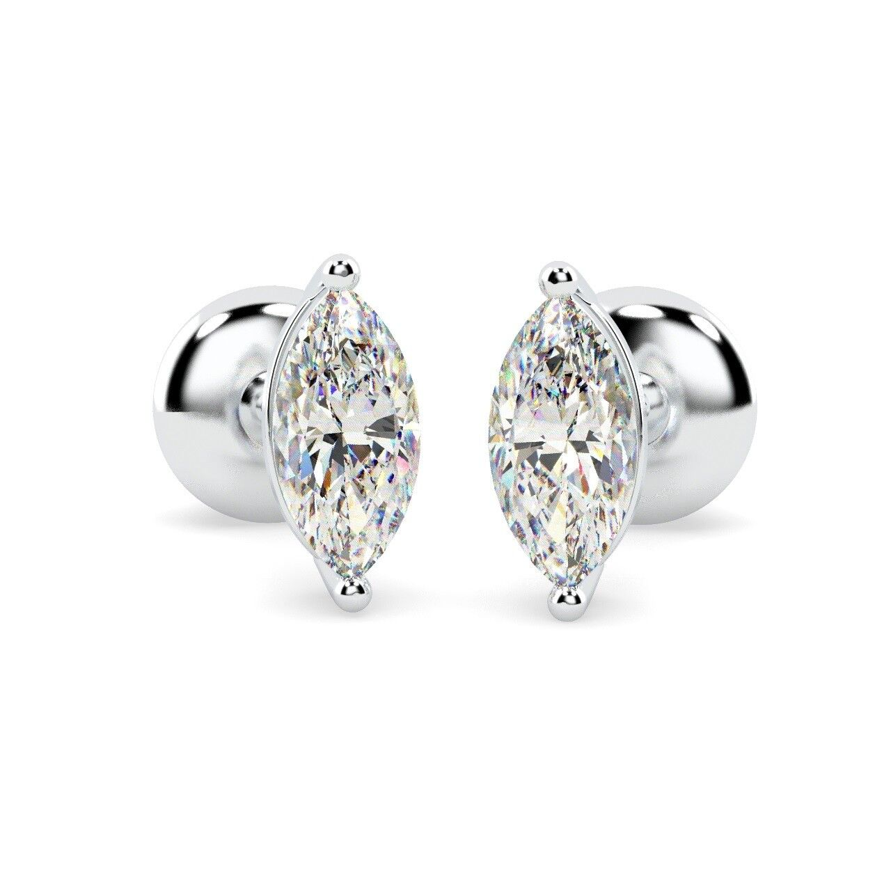 00d0eff79bd51 F VS 0.40ct Marquise Diamond Stud Earring in 18k White gold ...