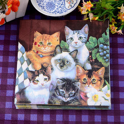 20pcs 33*33cm Cute Cat Paper Napkins,100% Virgin Wood Napkin