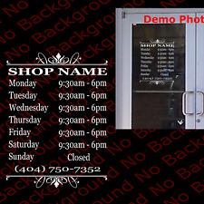 Custom Boutique Shop Business Name Hours Phone Die Cut Vinyl Decal Bs015