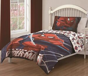 Details About 3pc Ultimate Spiderman Twin Sized Comforter Bed In A Bag Bedding Set