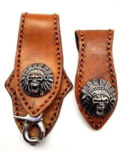 Biker-Skull-Trucker-orange-Stitch-tan-Leather-Belt-Clip-Key-chain-Holder-Set