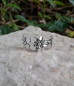 925 Silver Ring Solid Sterling Silver Flower Ring Dainty Ring with Flowers