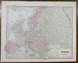VINTAGE-1900-EUROPE-Map-11-034-x14-034-Old-Antique-Original-EU-UK-ITALY-NORWAY-SPAIN