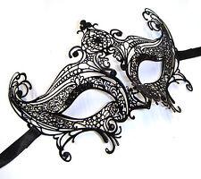 Venetian Plain Black Burano Metal Filigree Masquerade Mask, masked ball catwoman