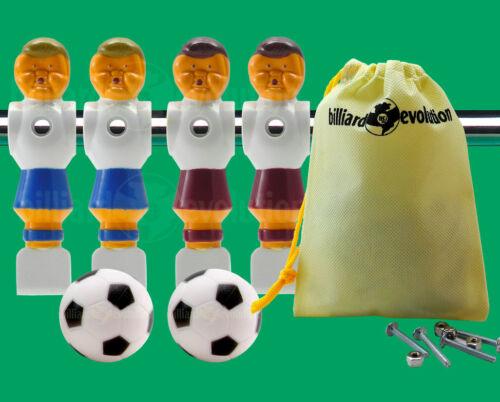 """2 Red//2 Blue Old Style Foosball Men-5//8/"""" Rod 2 Soccer Foosballs 4 Screws//Nuts"""