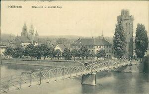Ansichtskarte-Heilbronn-Goetzenturm-u-eiserner-Steg-um-1910-Nr-855
