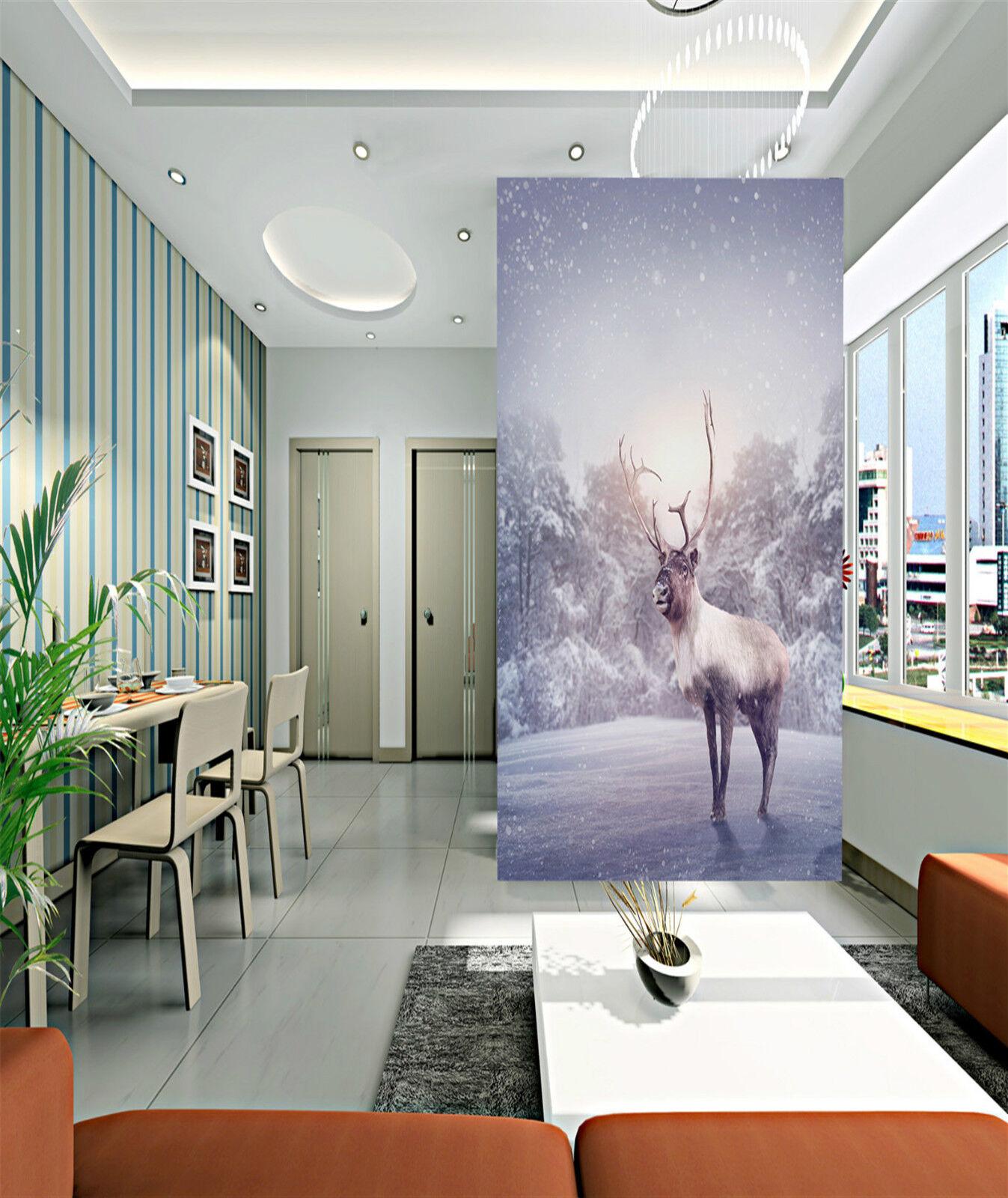 3D Die kühe im schnee Fototapeten Wandbild Fototapete Bild Tapete Familie