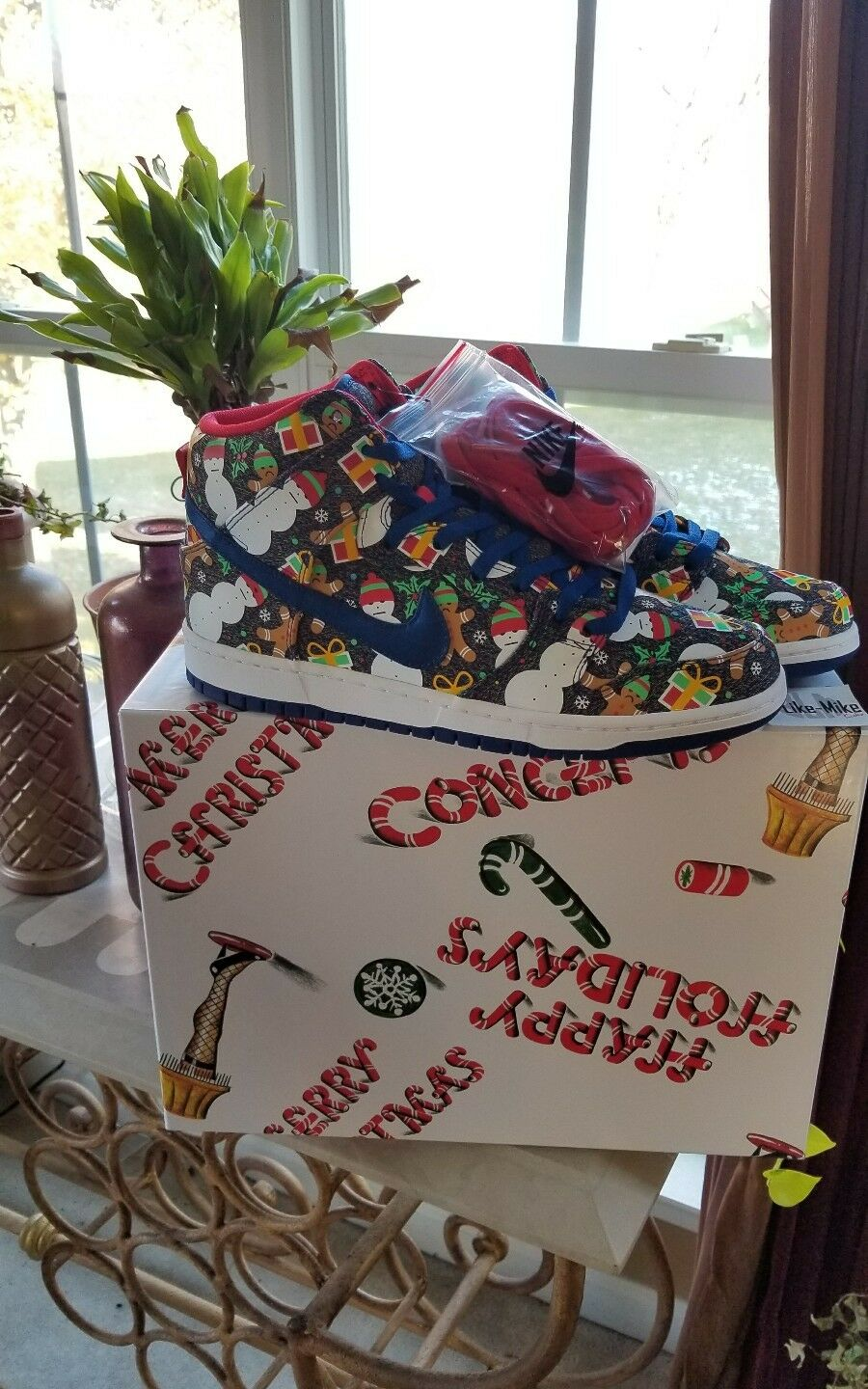 CONCEPTS Nike SB Ugly Sweater Dunk bluee Ribbon   Multi sz 10 Special Packaging
