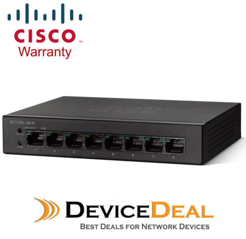 Cisco SF110D08HP 8 Port 10100 Unmanaged Desktop Switch with 4 PoE Ports