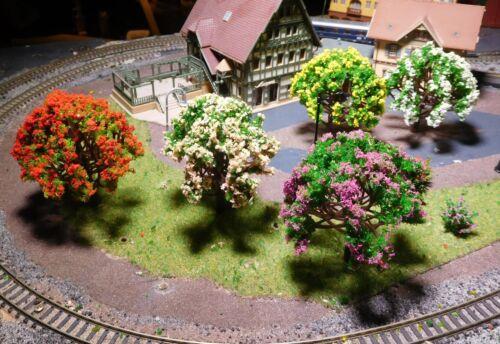 5 arbres, rouge, blanc, jaune, violet, rose floraison, hauteur 80 mm-LIVRAISON GRATUITE