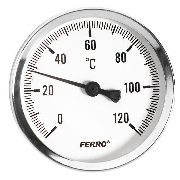 "Solid Metal Industrial Temperature Gauge Dial Probe  1/2"" BSP"