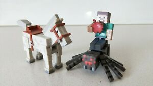 Minecraft Set of 3 - Horse, Spider & Steve with Bomb Figures (New without Box)
