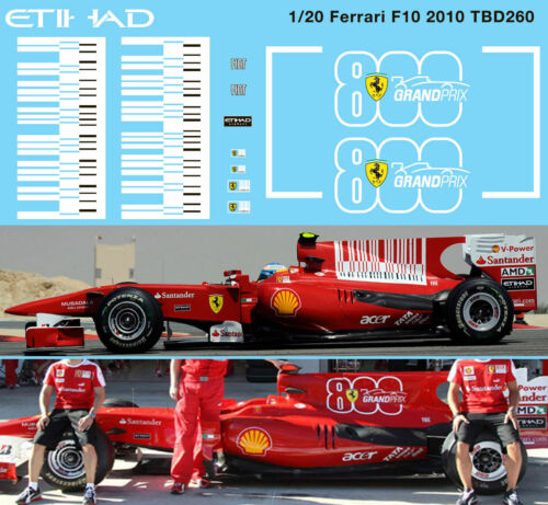 1//20 Ferrari F10 2010 Barcode /& 800 Grand Prix F1 Decals TB Decal TBD260