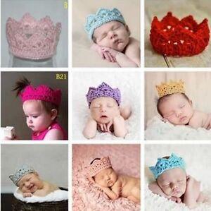Mütze Häkelmütze Babymütze  Krone Baby Blau  Fotoshooting NEU