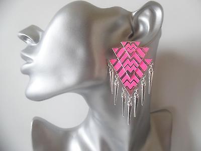 "3"" long silver & neon pink colour big geometric design spike drop earrings *NEW*"