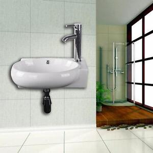 Wall Mount Bathroom Vessel Sink Porcelain Ceramic Corner