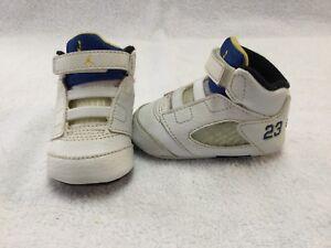 Nike Air Jordan 5 Retro Laney Infant Baby Boys White blue Crib Shoes ... a4bb5d88d