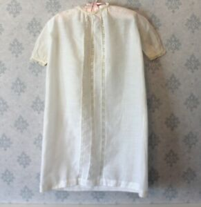 Vintage-Off-White-Cotton-Lace-Inset-Baby-039-s-Dress