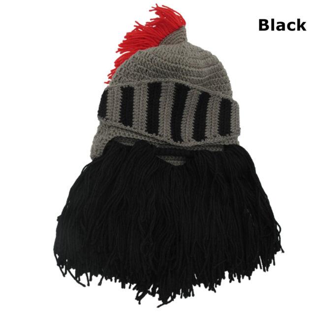 d40043cbb01 1pc Thermal Roman Helmet Barbarian Knight Knit Beard Funny Ski Mask ...