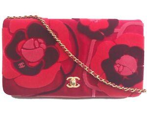 7101dc1b9988 Image is loading Chanel-Red-Camellia-Velvet-Clutch-Crossbody-Bag