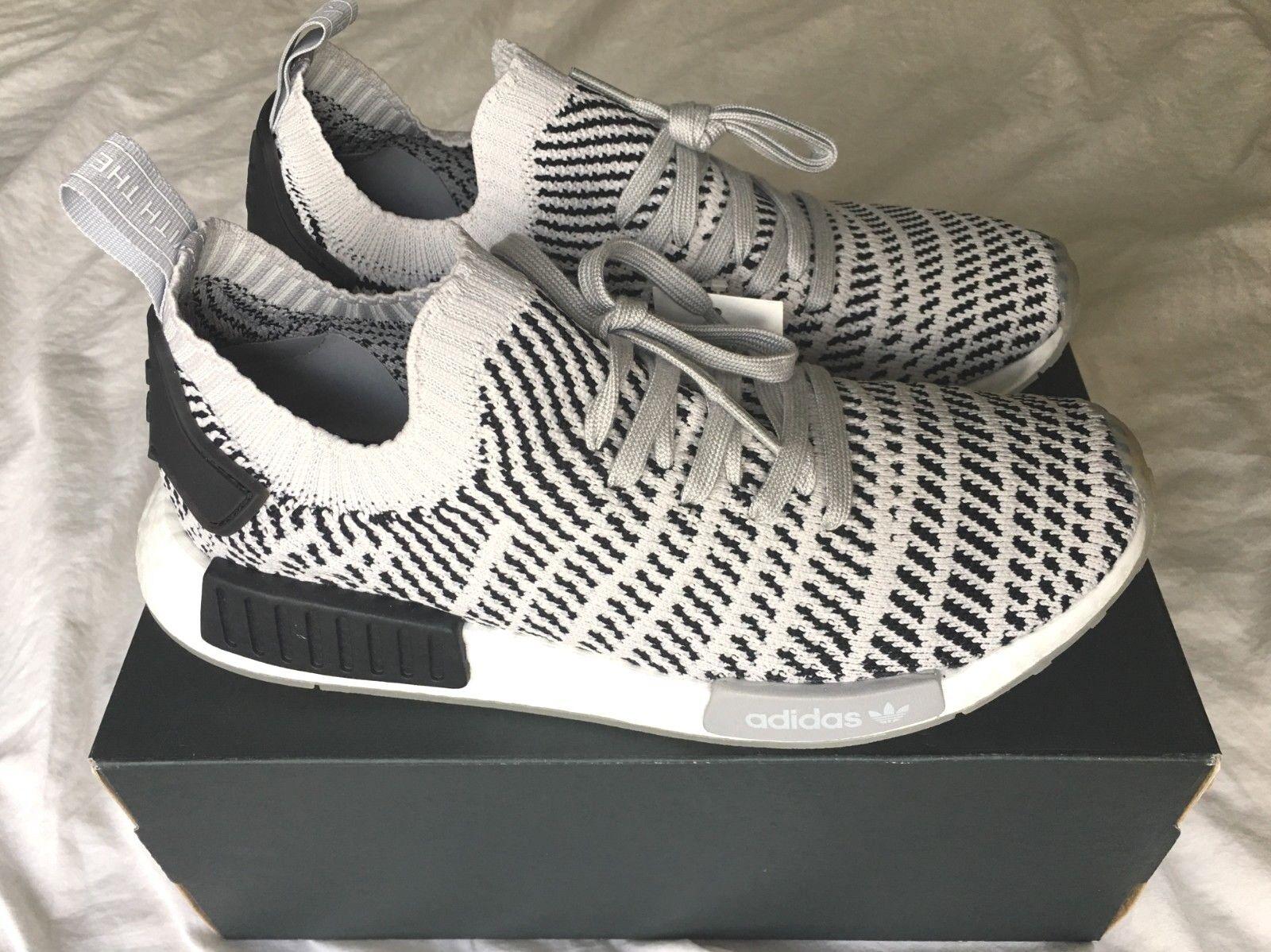 NIB ADIDAS Men Athletic shoes NMD R1 STLT Primeknit Grey Grey Black Size 9