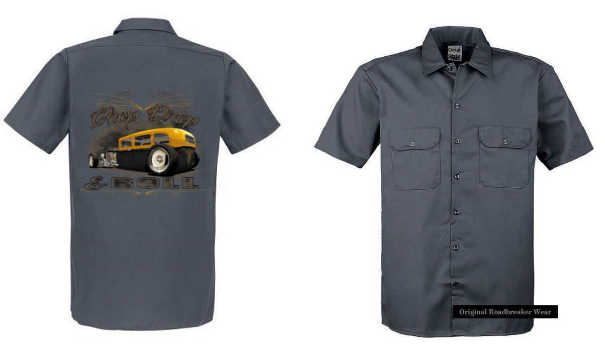 Worker Shirt Grey V8 Old School Hot Rod Us Car & `50 Style Emotiv Model Chop