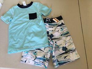 4,5//6 NWT Gymboree Boy Swimsuit Gray Rash Guard Shirt Top UPF 50
