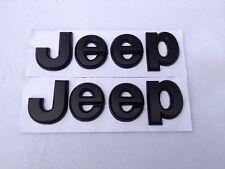 PAIR Black Jeep Logo Emblems Custom Cherokee Wrangler XJ CJ TJ New Free Shipping