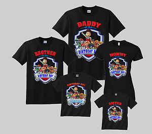 Details About Paw Patrol Birthday Shirt Personalized Custom T Shirt Family Black Shirts