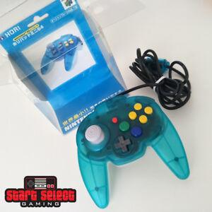 Like-New-Ocean-Blue-Clear-Hori-Mini-Pad-Nintendo-64-N64-Rare-Controller-CIB-VGC