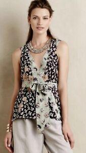 HD-in-Paris-Anthropologie-Silk-sleeveless-floral-print-wrap-blouse-size-8