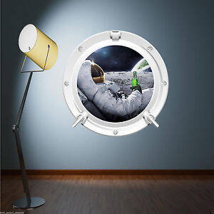 Full colour astronaut moon space porthole wall art sticker for Astronaut wall mural