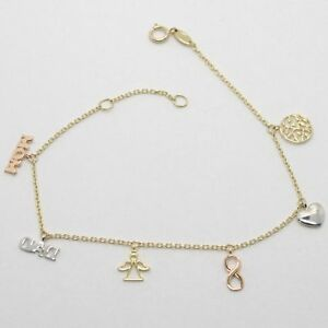 Bracelet-en-or-Jaune-Blanc-et-Rose-18K-750-Pendentifs-Famille-Fabrique-en-Italie