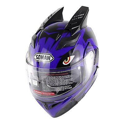 Double Visors Motorbike Modular Helmet Motorcycle Full Face Helmets Bull Horn