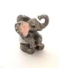 Hungry Elephant Pewter Bejeweled Hinged Miniature Trinket Box Kingspoint