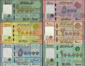 LEBANON  1000 - 100000 LIVRES - 6 NOTE BANKNOTE SET 2014-2019 @ EBS