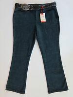 Women's St. John's Bay Relaxed Fit Boot Cut Rhinestone Belt Blue Denim Jeans 14p
